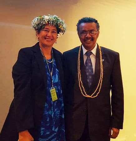 WHO Director-General Dr Tedros Adhanom Ghebreyesus and Mrs Elizabeth Iro, newly appointed WHO Chief Nurse.